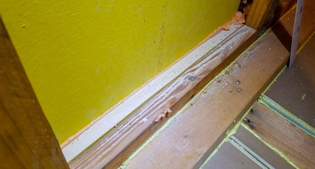 Foam seal used to fill wall tops after drywall