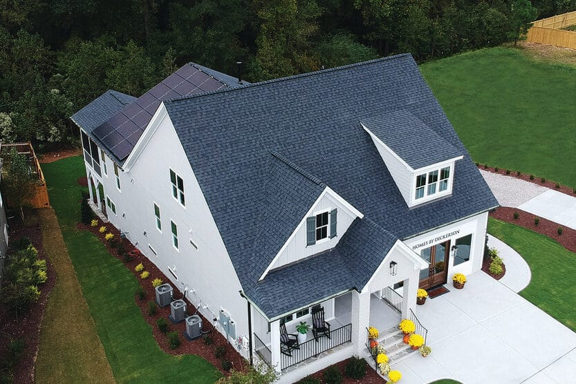 Homes by Dickerson model home at Wendell Falls, with rooftop solar system