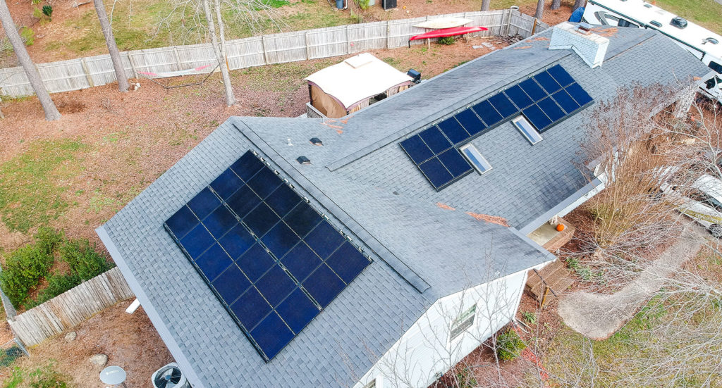 Complete solar install on a gray roof in North Carolina