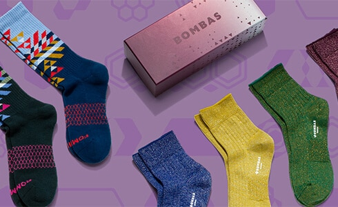 Assortment of colorful socks from Bombas