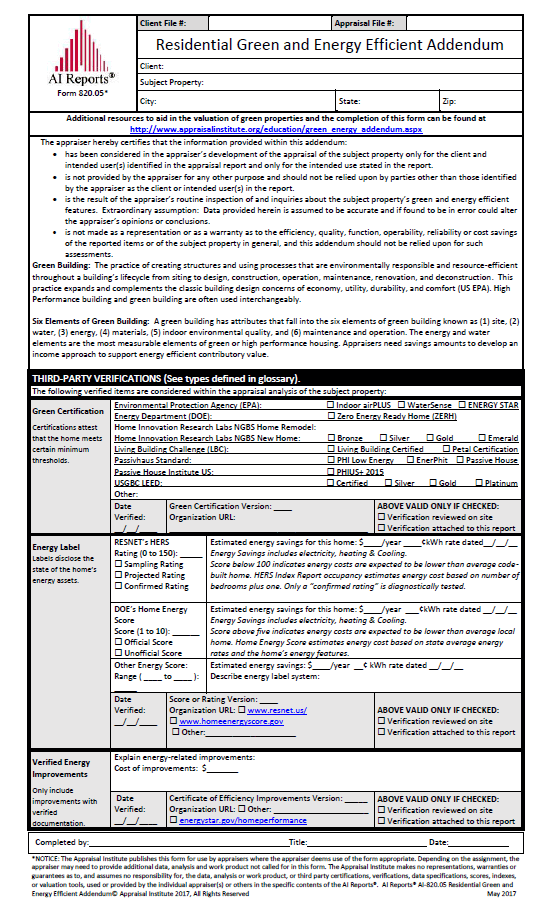 Preview of the Residential Green Addendum Form