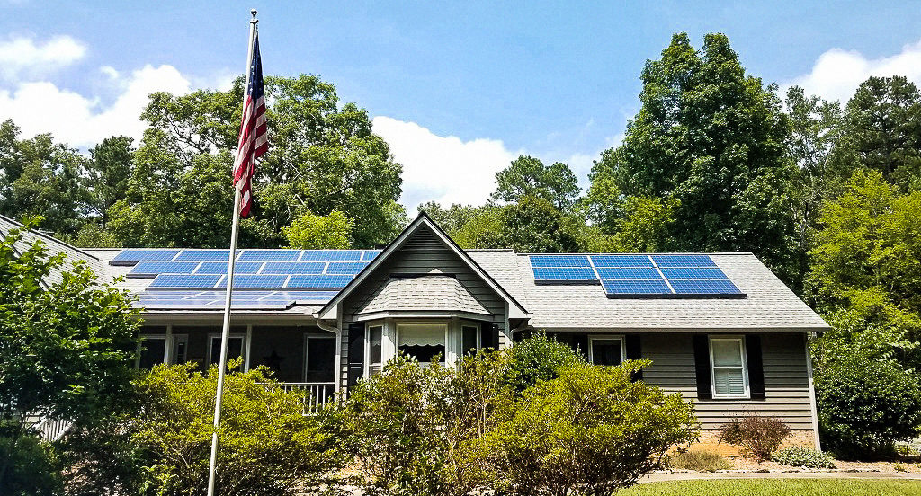 Ranch Home with Solar and American Flag