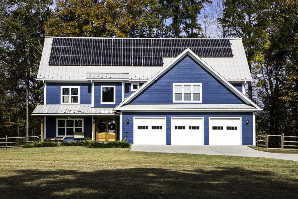 Front View of New Home with Roof Mount Solar System