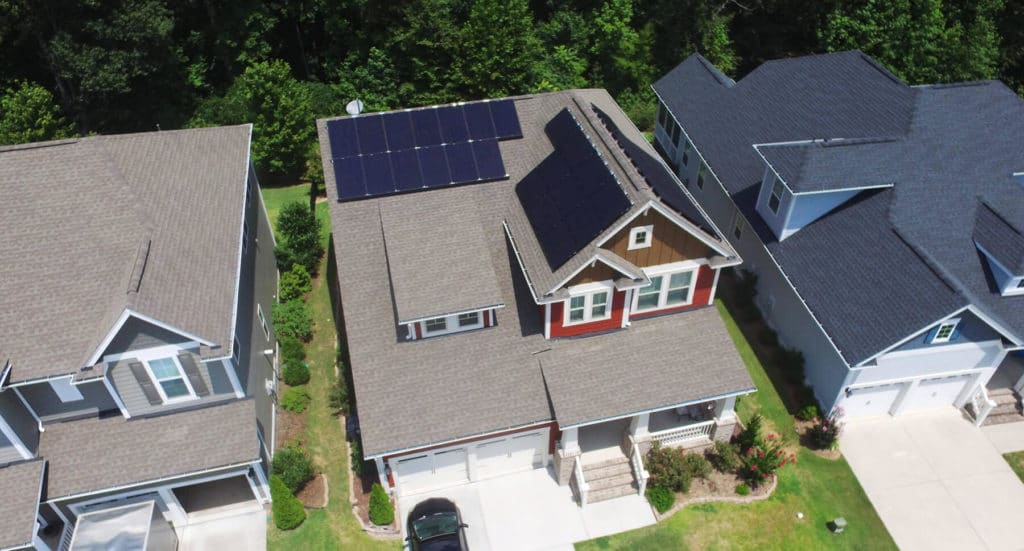 Mono solar panels on a two story craftsman home