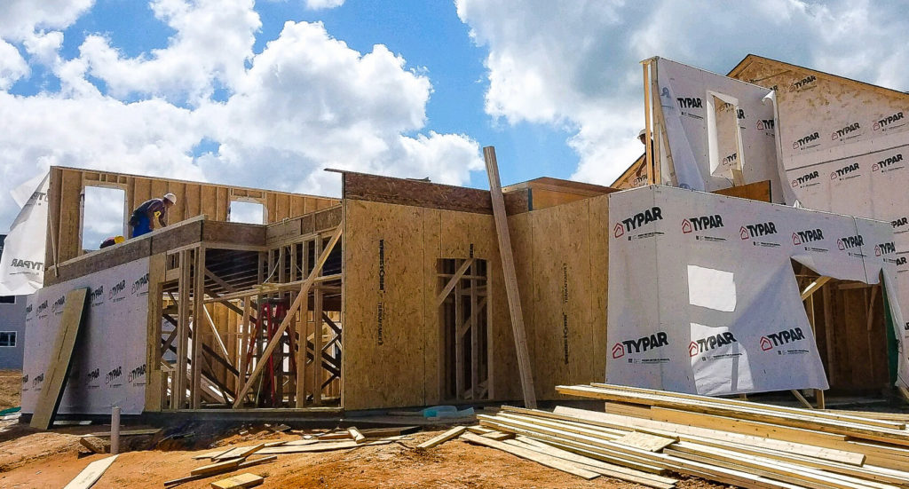 Framing of a home under construction