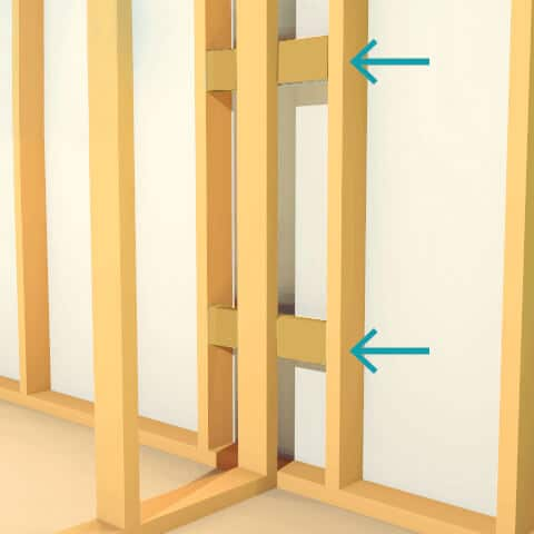 An example of horizontal latter blocking to insulate an interior wall
