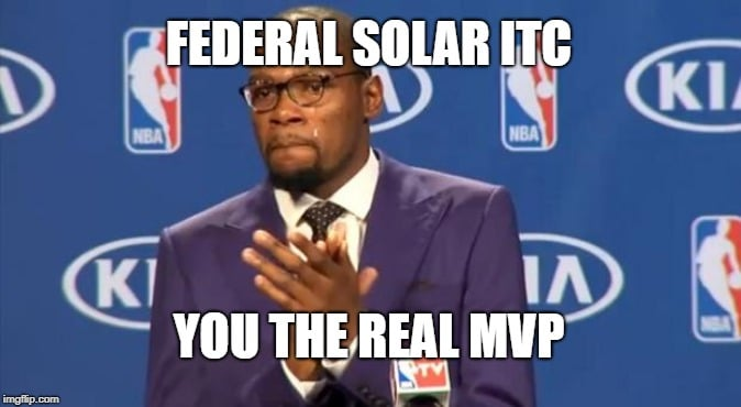 """Durant slow clapping with meme text, """"Federal solar ITC, You the real MVP"""""""