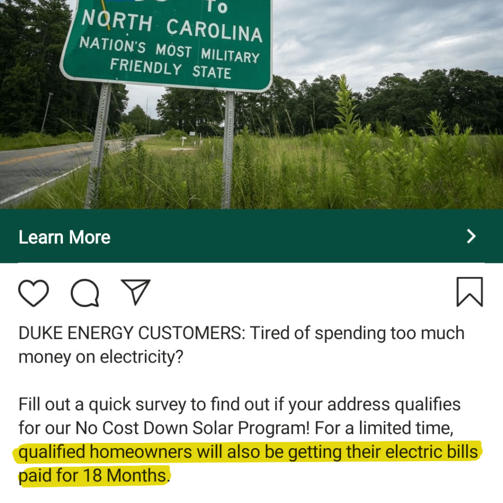Solar ad stating the company will pay qualified homeowners' electric bills for 18 months