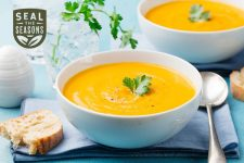 Two bowls of butternut squash using ingredients from seal the seasons