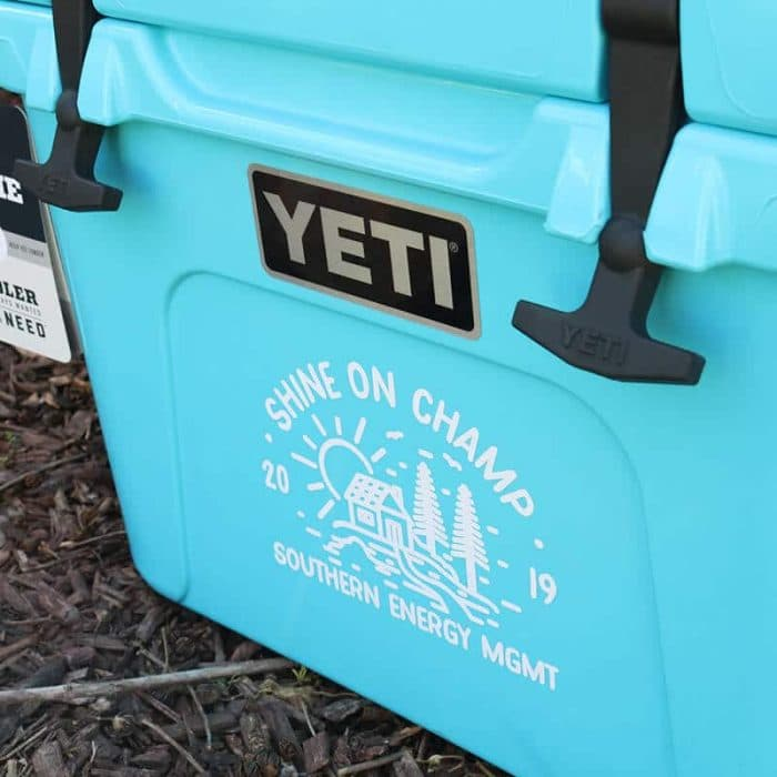Detail view of the Shine On Champ Yeti cash cooler award decal