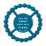 Navy blue teething toy that says save the seas plant more trees by Bella Tunno