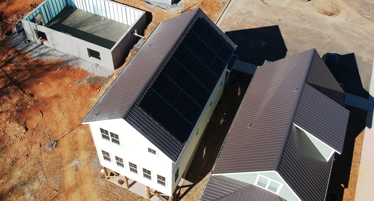 Homes under construction at Fiori Hill with solar installed
