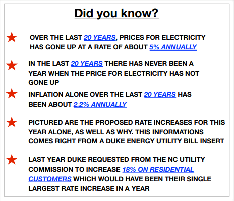 Section from a solar proposal detailing anticipated energy escalation rates