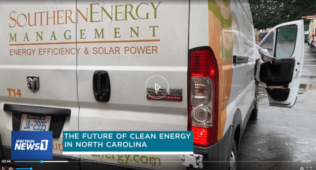 Video playback shot of Southern Energy Management featured on a Spectrum News piece