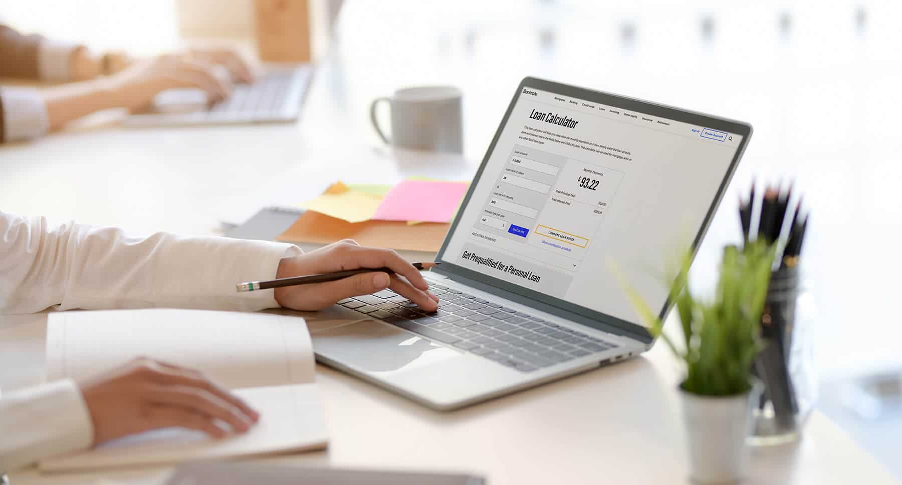 Calculating a loan payment online