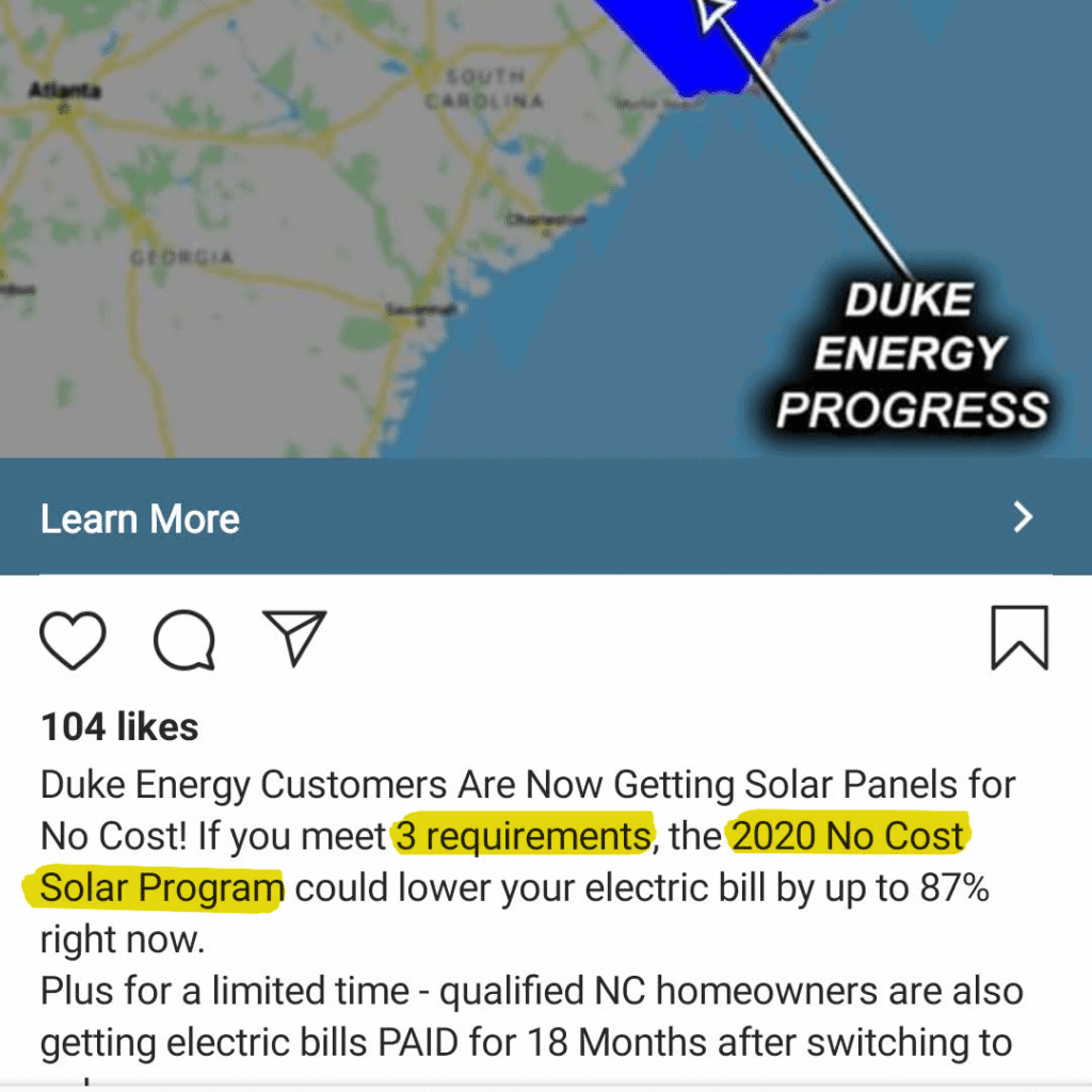 """Solar ad implying you must meet qualifications to apply for a """"new solar program"""""""