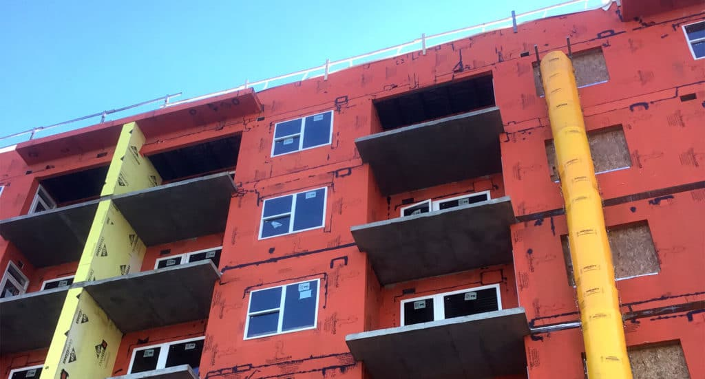 Multi-family apartment building in construction