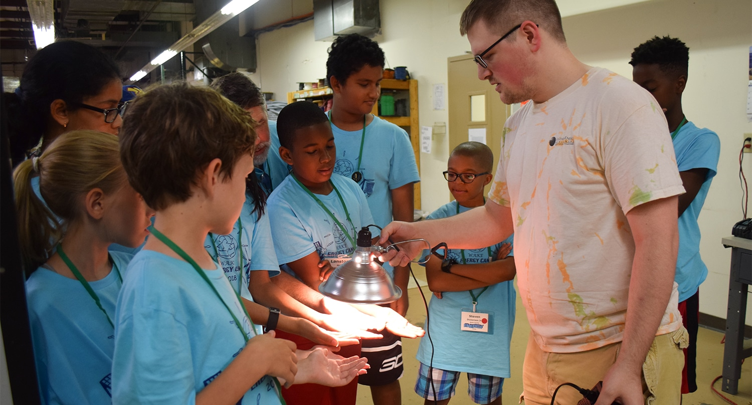 Energy campers learning about energy efficiency